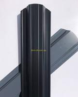 Штакет металлический  полукруглый и трапецевидный  RAL 7024 глянец двухсторонний (0.45мм ) форма 113 мм