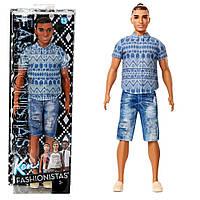 """Кукла """"Барби: Игра с модой"""" - Кен в джинсовых шортах, 33 см Mattel fnj38, фото 1"""