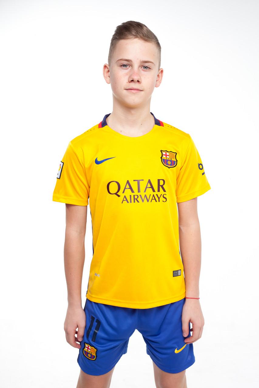 Футбольная форма для детей Барселоны Неймар 2015-2016 (Barcelona Neymar) желто-оранжевая.