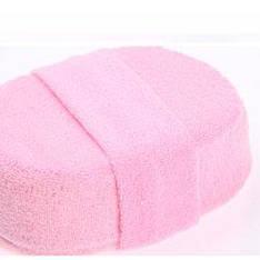 Перчатка мочалка ткань для душа  массажная с петлей розовая