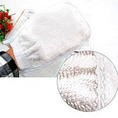 Перчатка мочалка ткань для душа тонкая пенная цв