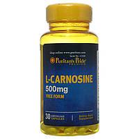 Л-Карнозин, L-Carnosine 500 mg, Puritan's Pride, 30 капсул, фото 1