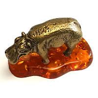 Статуэтка из бронзы и янтаря Бегемот