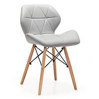Деревянный стул с мягким сидением Стар, цвет серый