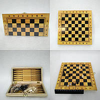 Шахматы и нарды 2 в 1 (деревянная доска)