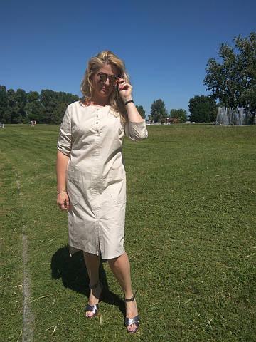 Платье сафари летнее хлопковое молочный  беж 48,50,52,54 Пл 099-6 палевая роза