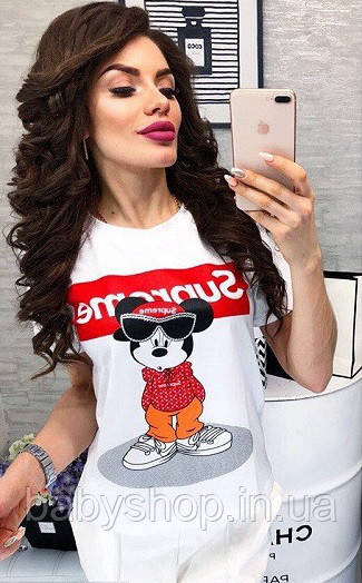 Футболка женская в стиле Supreme Mickey Mouse. Размеры 1(42-44) 2(44-46). Белая, черная