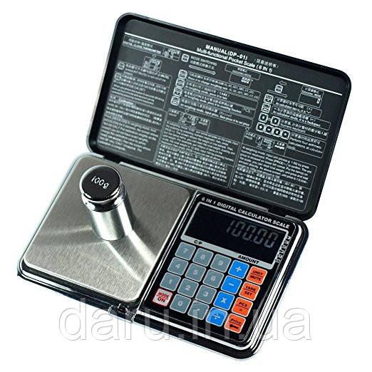 Весы цифровые мультифункциональные 6 в 1 Digital Pocket Scale Precision DP-01 (0,01/500 г) (Весы+калькулятор)