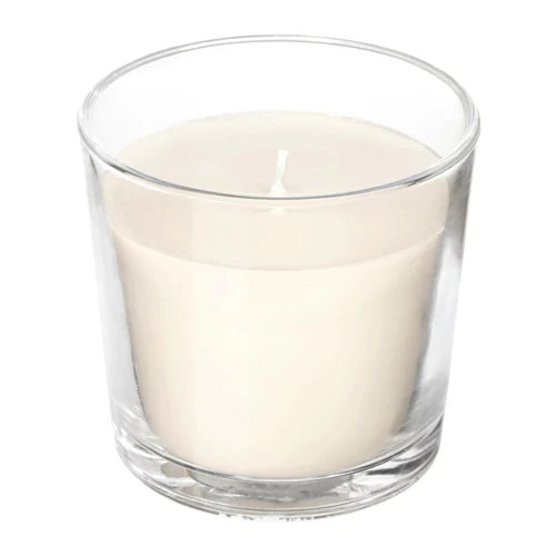 Ароматическая свеча в стакане IKEA SINNLIG 9 см нежная ваниль бежевый 103.374.07