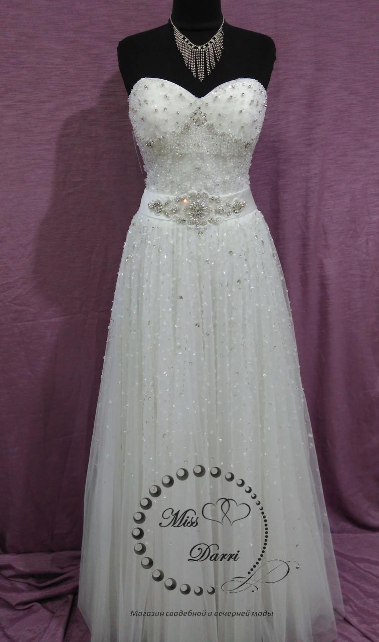 Свадебное платье бежевое (айвори) расшитое кристаллами и бисером