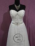 Свадебное платье бежевое (айвори) расшитое кристаллами и бисером, фото 2