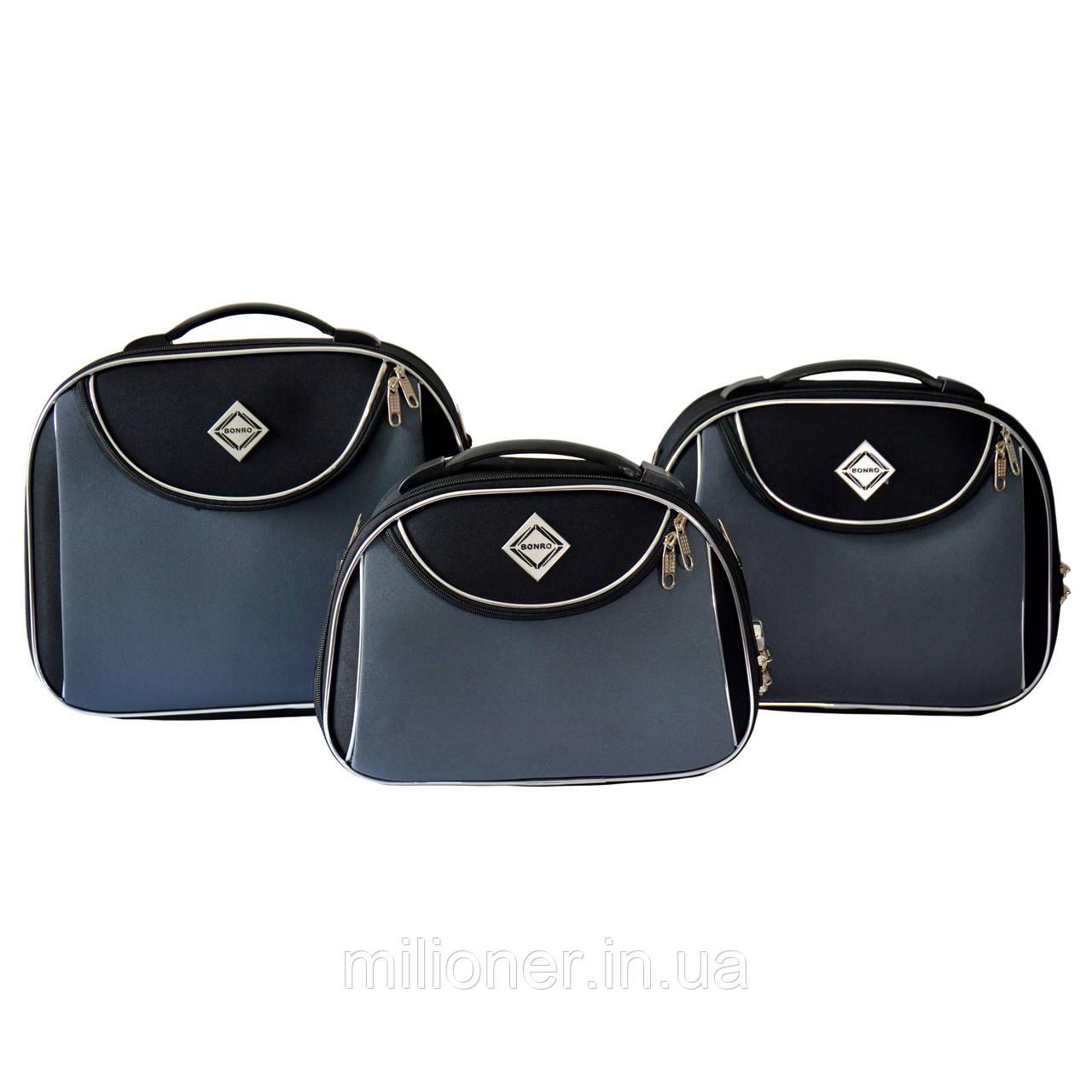 Сумка кейс саквояж 3в1 Bonro Style черно-серый