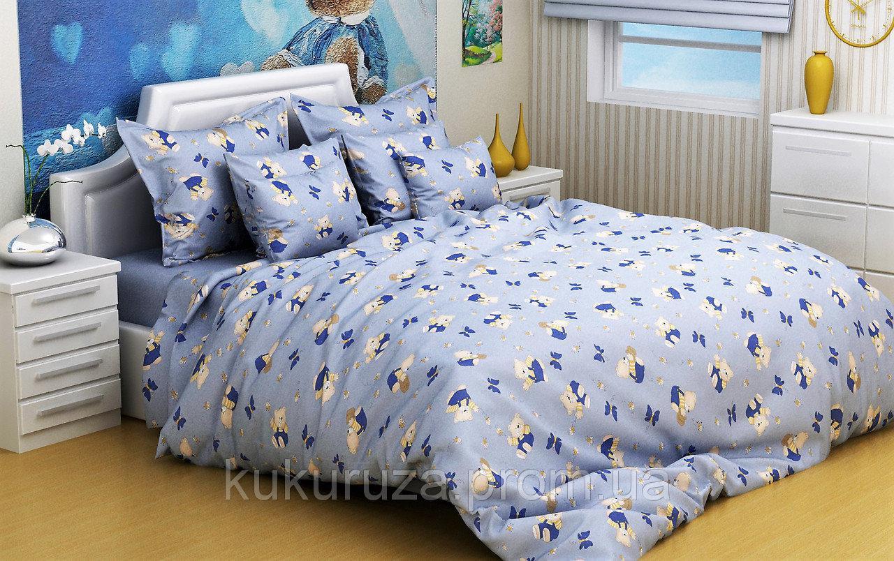 Дитячі комплекти постільної білизни 110*140 з бязі Голд в ліжечко Ведмедик Фреді (блакитний)