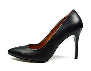 Черные женские кожаные туфли-лодочки MILUCHI на шпильке