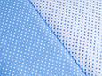 Сатин (бавовняна тканина) блакитний дрібний горох на білому, фото 2