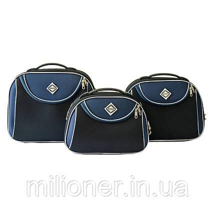 Сумка кейс саквояж 3в1 Bonro Style черно-т. синий, фото 2