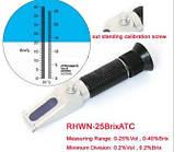Портативный рефрактометр RHWN - 25 Brix / ATC с двумя шкалами(Brix 0-40%) и (спирт 0-25%)виноделам и пивоварам, фото 2