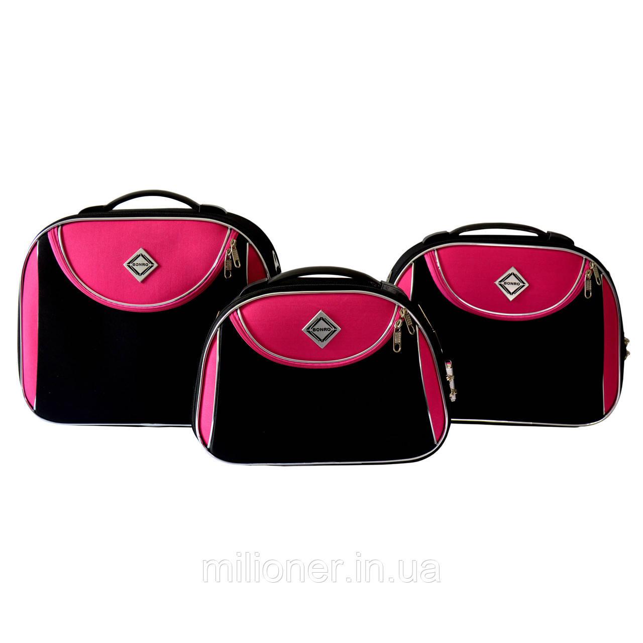 Сумка кейс саквояж 3в1 Bonro Style черно-розовый