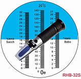 Рефрактометр RHB - 32 S / ATC с 3-мя шкалами: (0-32 %Brix), (0-140 °Oe), (0-27 °KMW (Babo), фото 2
