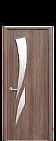 Межкомнатная дверь  Камея ПВХ DeLuxe со стеклом сатин, цвет золотая ольха
