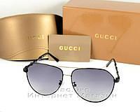 Солнцезащитные очки Gucci Polarized Aviator оправа металлическая  стильная новинка лета Гуччи люкс реплика, фото 1