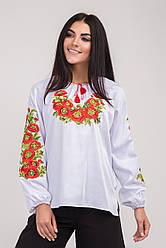 Блуза женская вышитая красными маками
