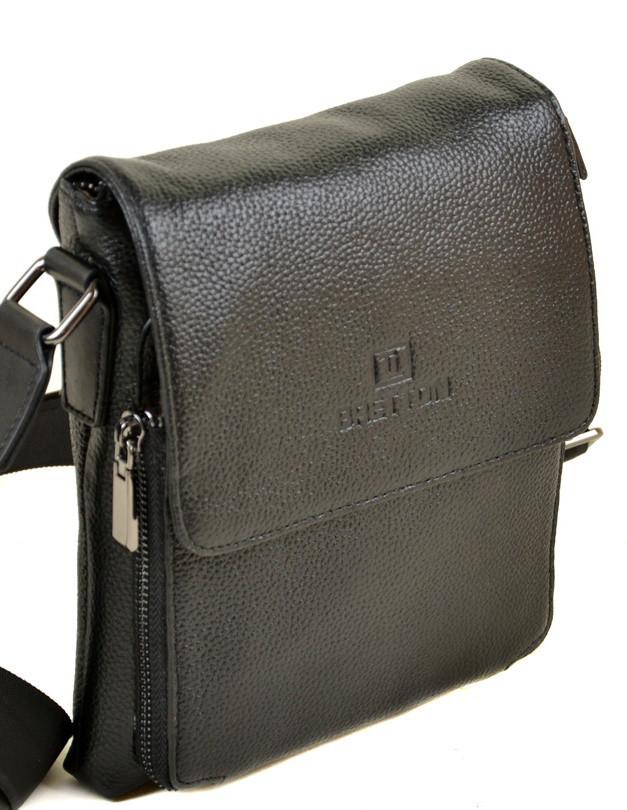 60aec15d5695 Мужская кожаная сумка BRETTON 505-1 black Сумки мужские на плечо из натуральной  кожи