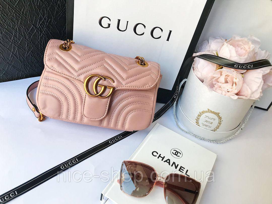Сумочка  Gucci Marmont пудровая, эко-кожа, фото 2