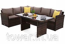 Угловой диван+ стол,техноротанг,Santiago ,цвет - коричневой
