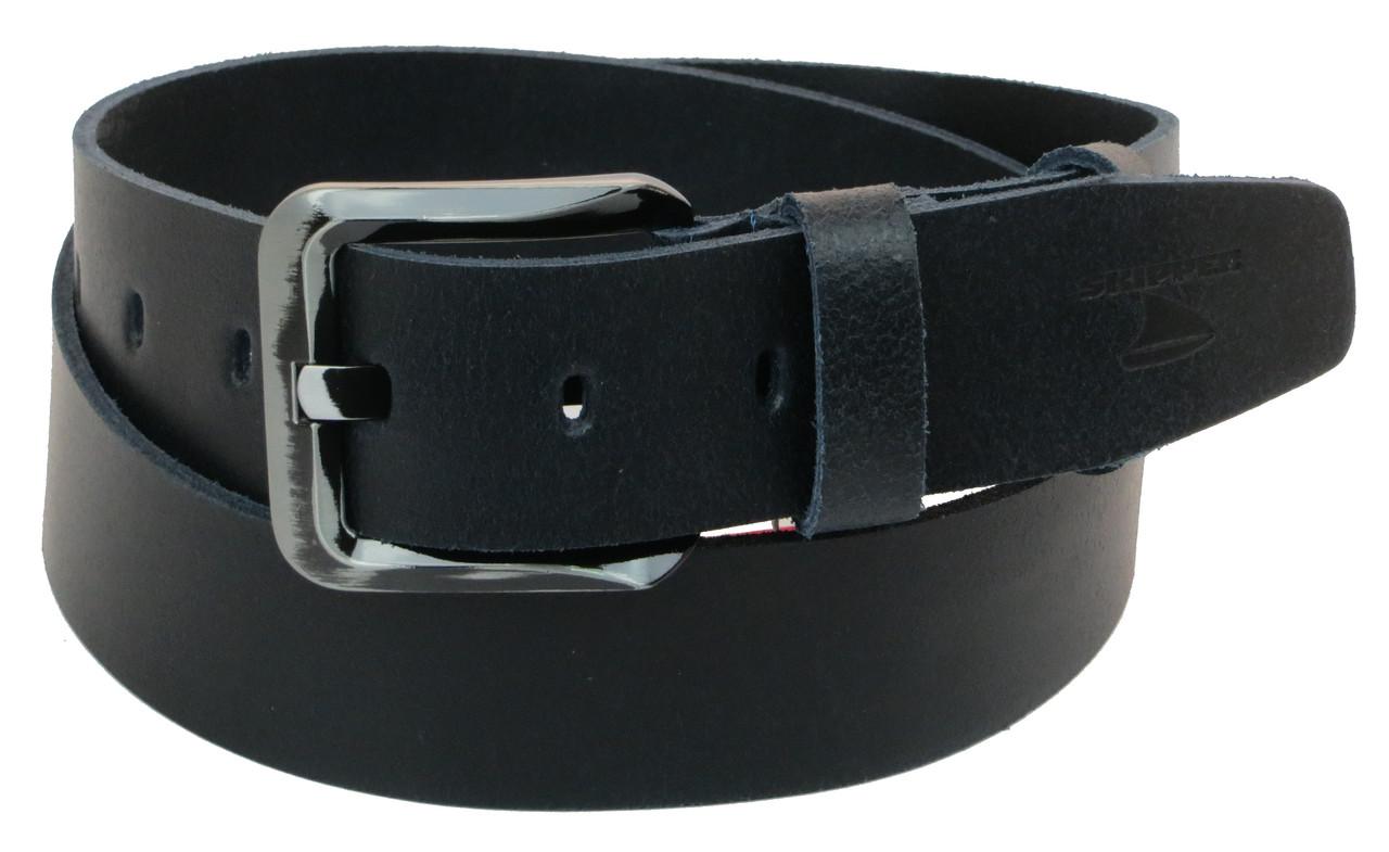Мужской кожаный ремень под джинсы Skipper 1174-45 темно-синий 4,5 см