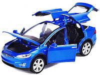 Коллекционная машинка Tesla Model X синяя металлическая модель в масштабе 1:32