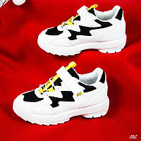 Детские кроссовки бело/черные, фото 1