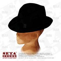 Черная шляпа Федора (Челентанка) с чёрной лентой карнавальная