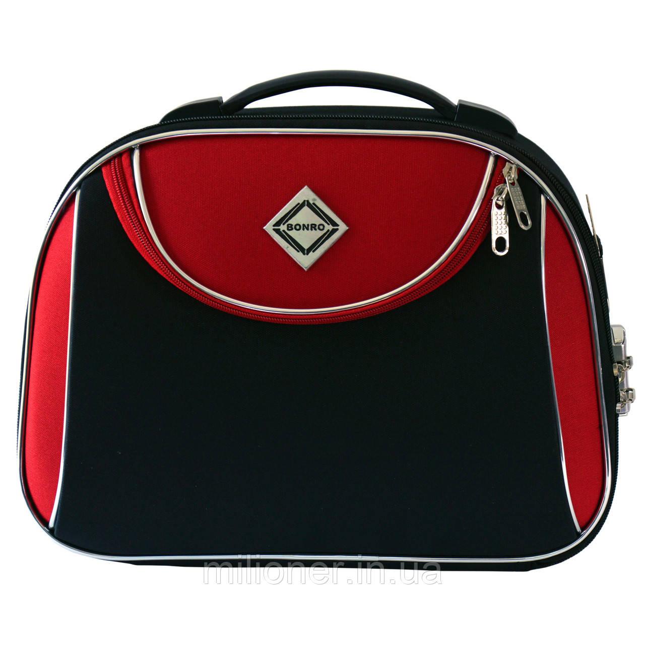 Сумка кейс саквояж Bonro Style (небольшой) черно-красный