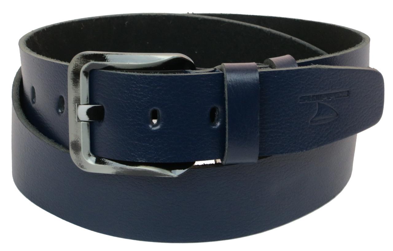 Мужской кожаный ремень под джинсы Skipper 1170-45 синий 4,5 см