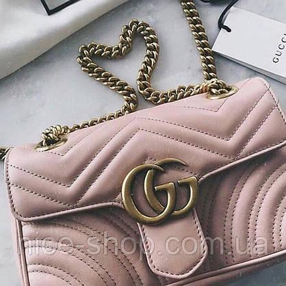 Сумочка  Gucci Marmont пудровая, эко-кожа, фото 3