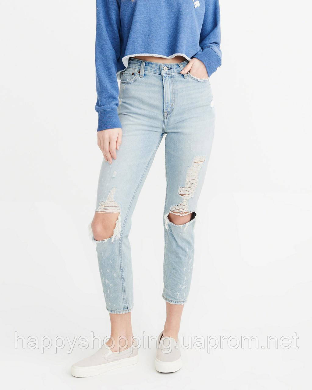 "Женские голубые рваные джинсы ""girlfriend"" Abercrombie & Fitch"