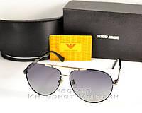 Мужские солнцезащитные очки Emporio Armani Polarized Aviator оправа металлическая стильная новинка реплика