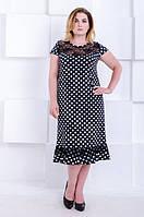 Нарядное платье большой размер Венеция черное в горох (50-66)