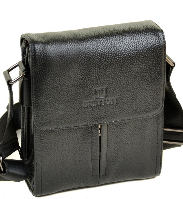 f0befb0ab1e5 Мужская кожаная сумка BRETTON 501-1 black Сумки мужские на плечо из натуральной  кожи