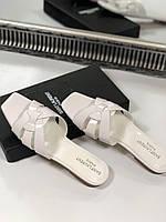 Кожаные шлепанцы SAINT LAURENT с плетением (реплика), фото 1