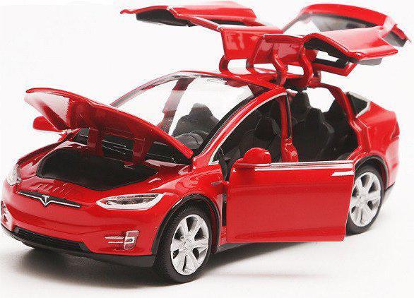 Коллекционная машинка Tesla Model X красная металлическая модель в масштабе 1:32