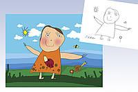 Подарок ребенку картина на холсте Оригинальная обработка детского рисунка 60х40 и под заказ, фото 1