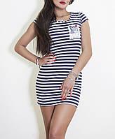 Платье- футболка в полоску с карманом, приталенный силуэт. Летние облегающее миниплатье без рукава. Распродажа