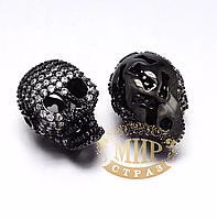Бусина-череп с цирконием, цвет Black, 13х17мм, 1 шт