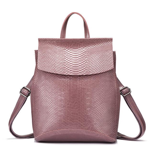 Рюкзак сумка трансформер женский кожаный с тиснением под рептилию  (фрезовый) - Интернет-магазин f436c29396f