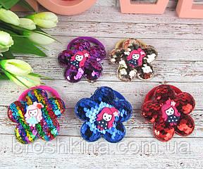 Детские резинки для волос Девочки с пайетками 12 шт/уп