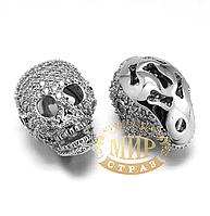 Бусина-череп с цирконием, цвет Silver, 13х17мм, 1 шт