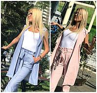 Женский костюм жилетка с брюками в полоску 16524, фото 1