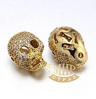 Бусина-череп с цирконием, цвет Gold, 13х17мм, 1 шт
